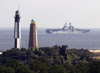 Lighthouses and Navy Ship in Virginia Beach