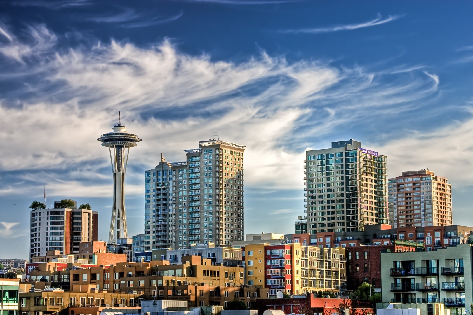 Seattle Skyline with Space Needle and Clouds