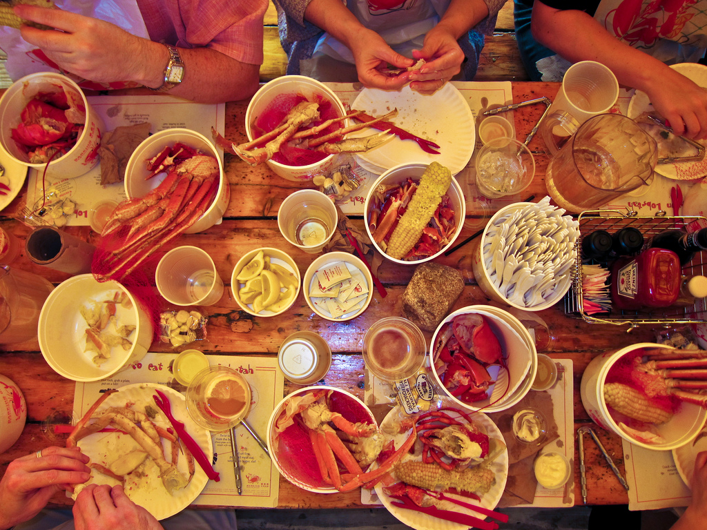 Overhead View of Crab Dinner