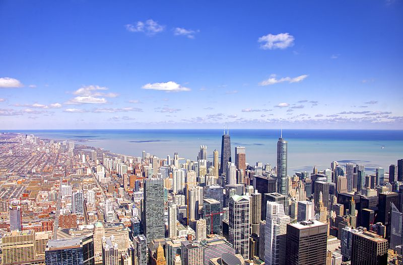 Chicago With Lake Michigan in the Background
