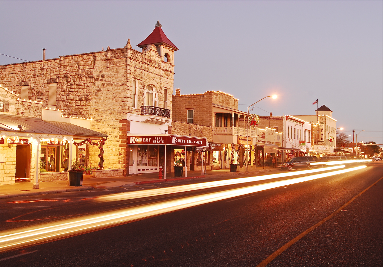 Downtown Fredericksburg, TX at Night