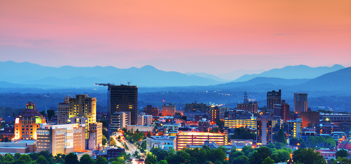 Downtown Asheville in the Blue Ridge Mountains.
