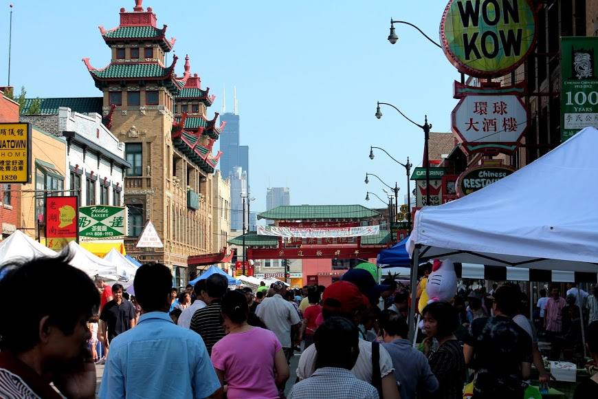 Chicago Chinatown With Sears Tower