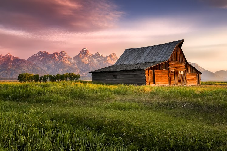 Barn and Grand Tetons in Jackson Hole