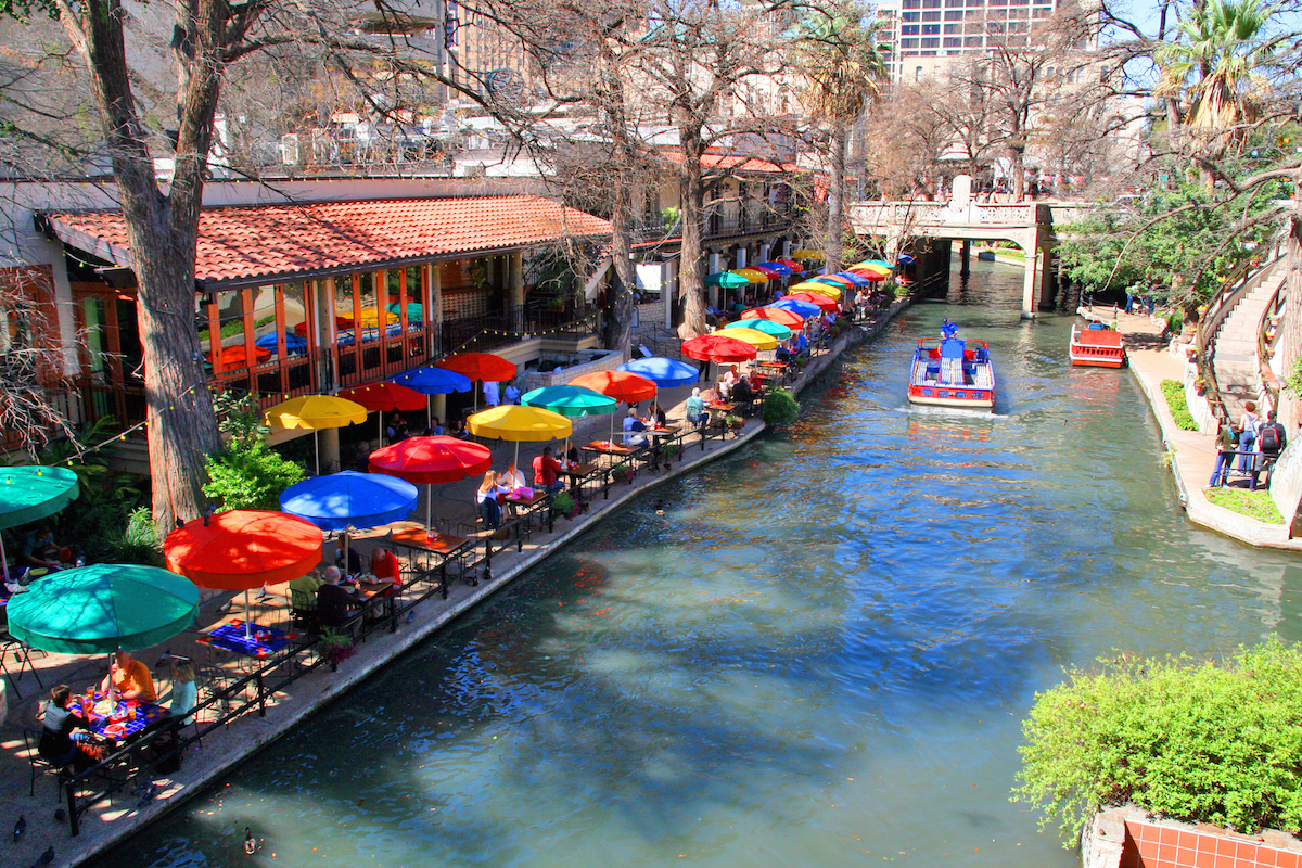 San Antonio Riverwalk With Colorful Umbrellas