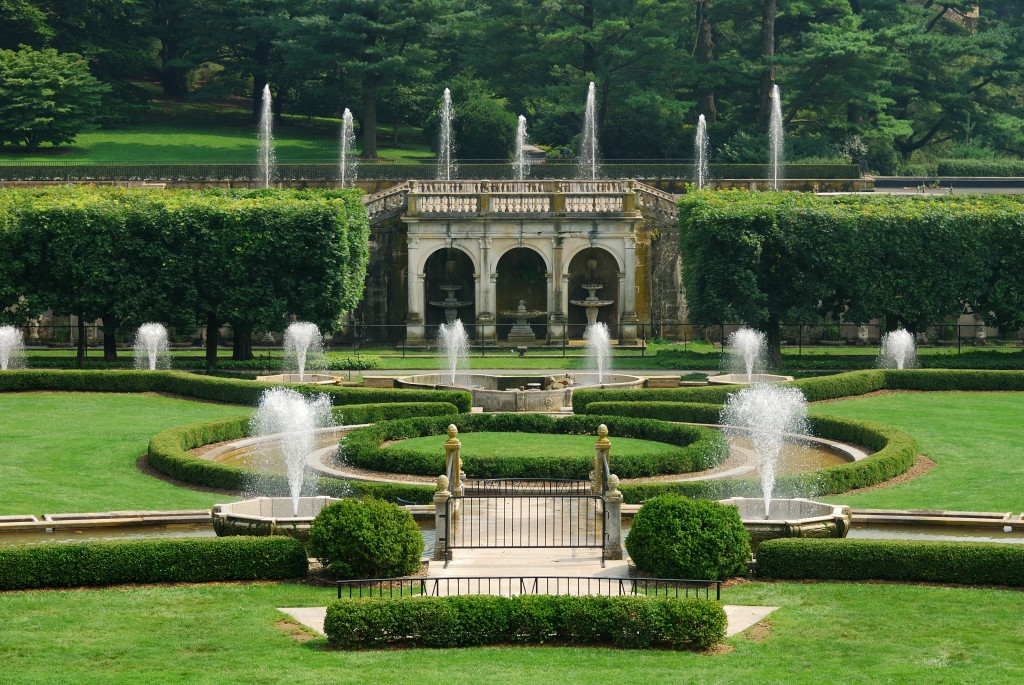 Fountains in garden with green lawn from Longwood Garden, Pennsy