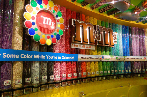 Wall of Colorful M&Ms