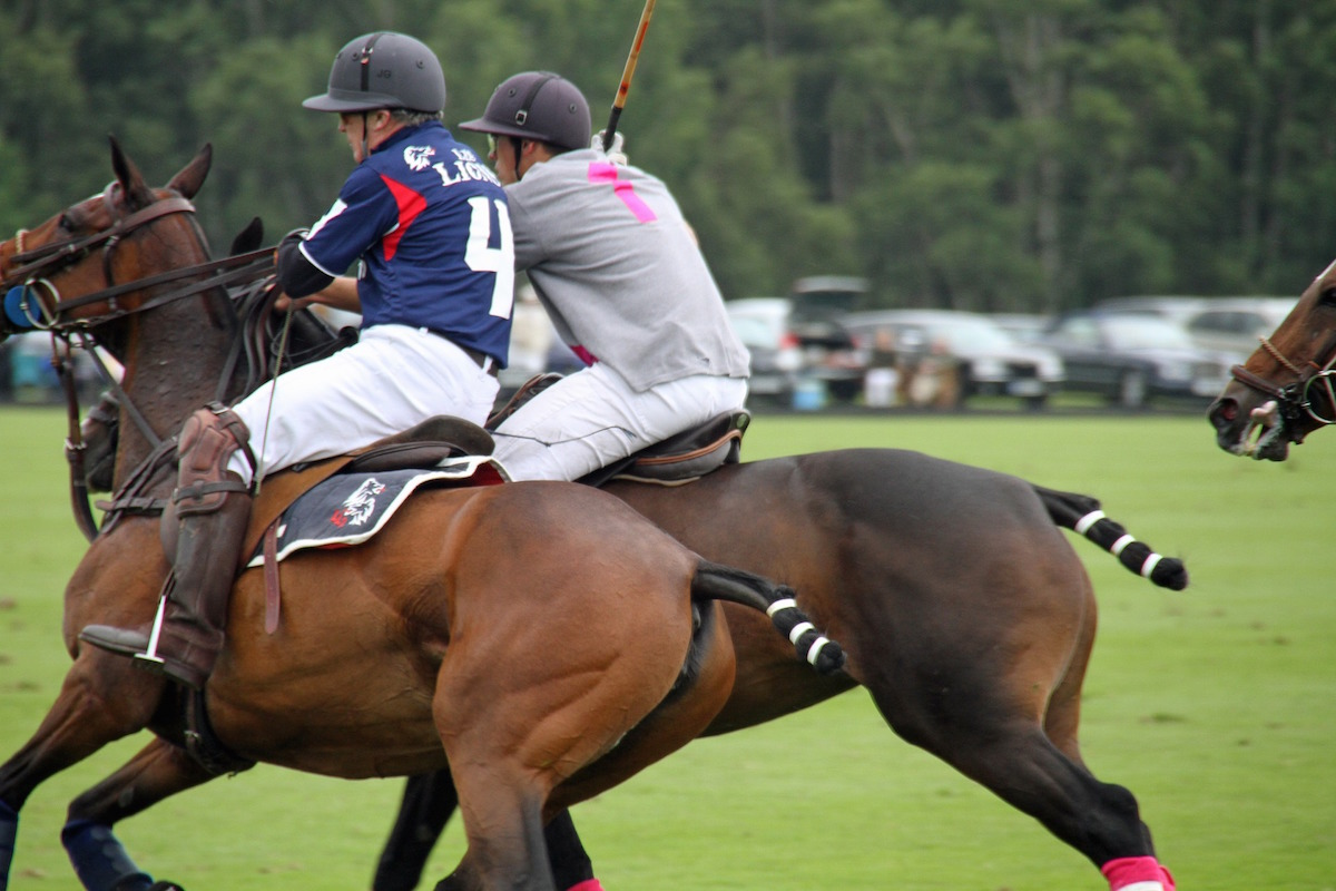 Men on horses during polo match
