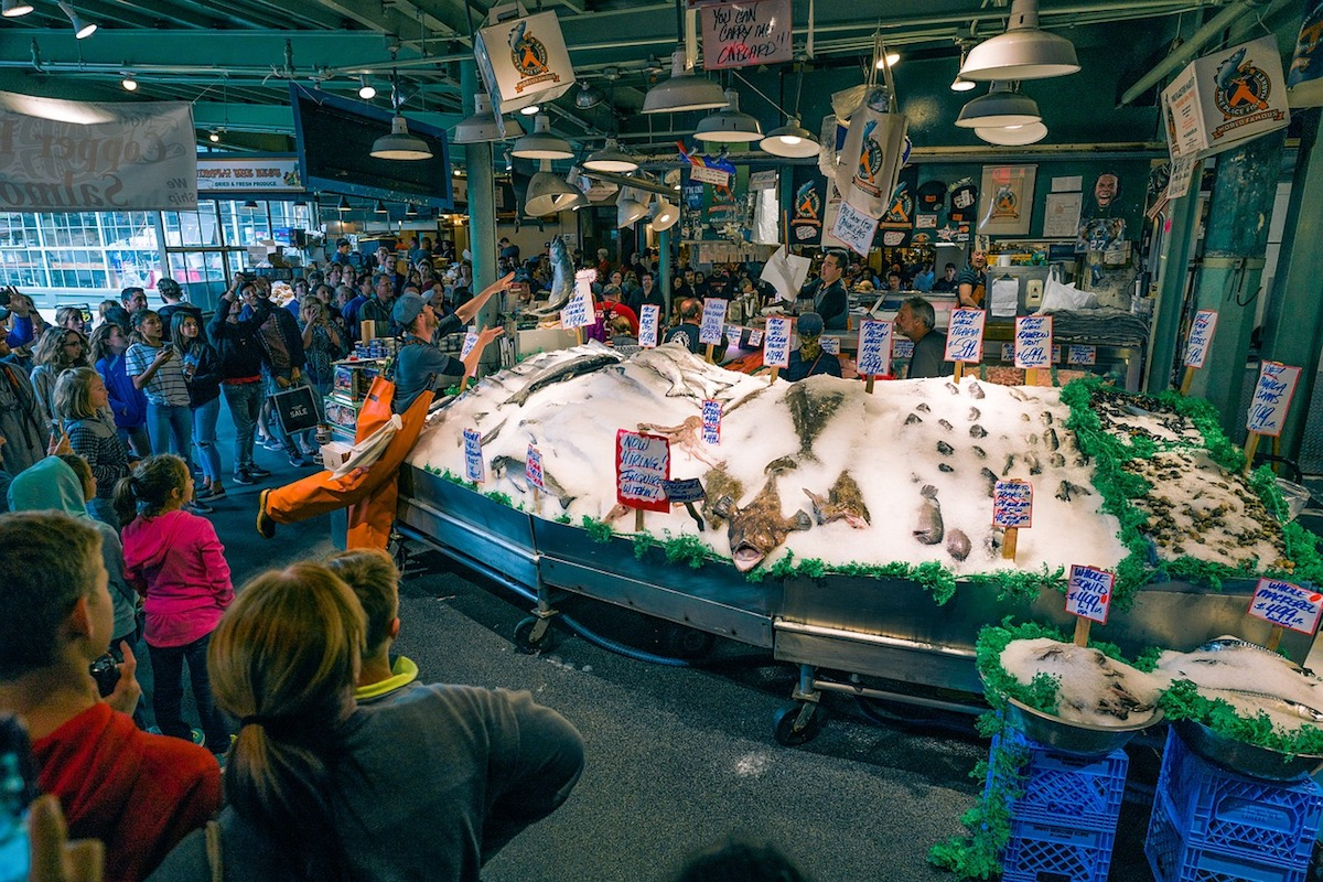 Fish market at Pikes Places in Seattle, WA