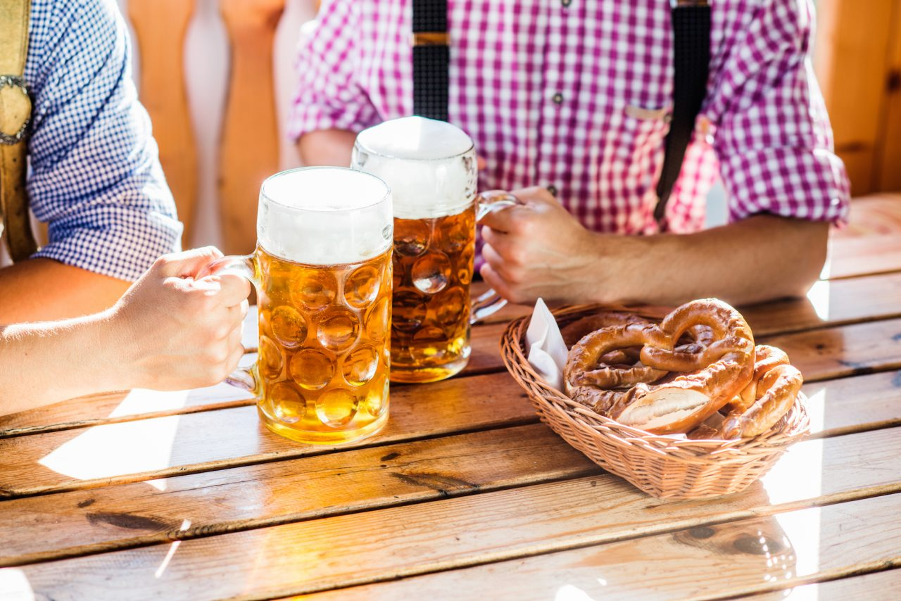 Oktoberfest beers and pretzels