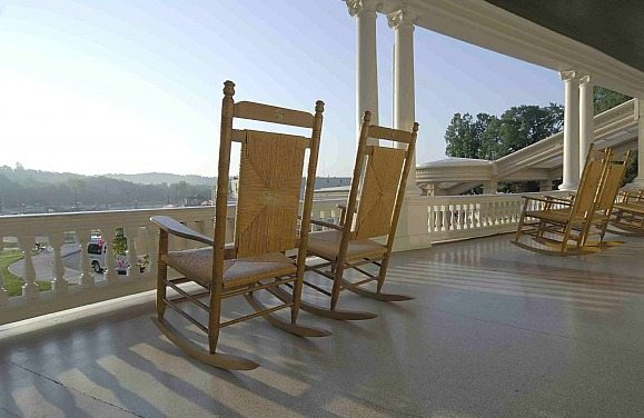 Front Porch and Rocking Chairs at Sunset