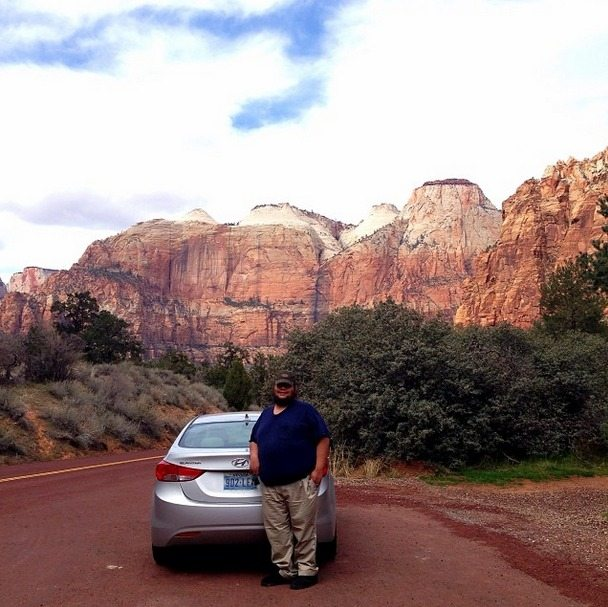 With Our Rental Car in Zion National Park