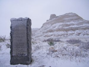 Oregon Trail Marker in the Snow
