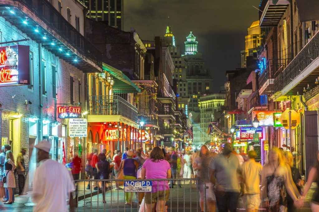 Crowded Bourbon Street at Night