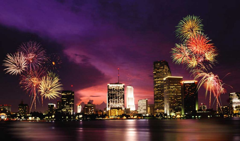 Miami Skyline With Fireworks