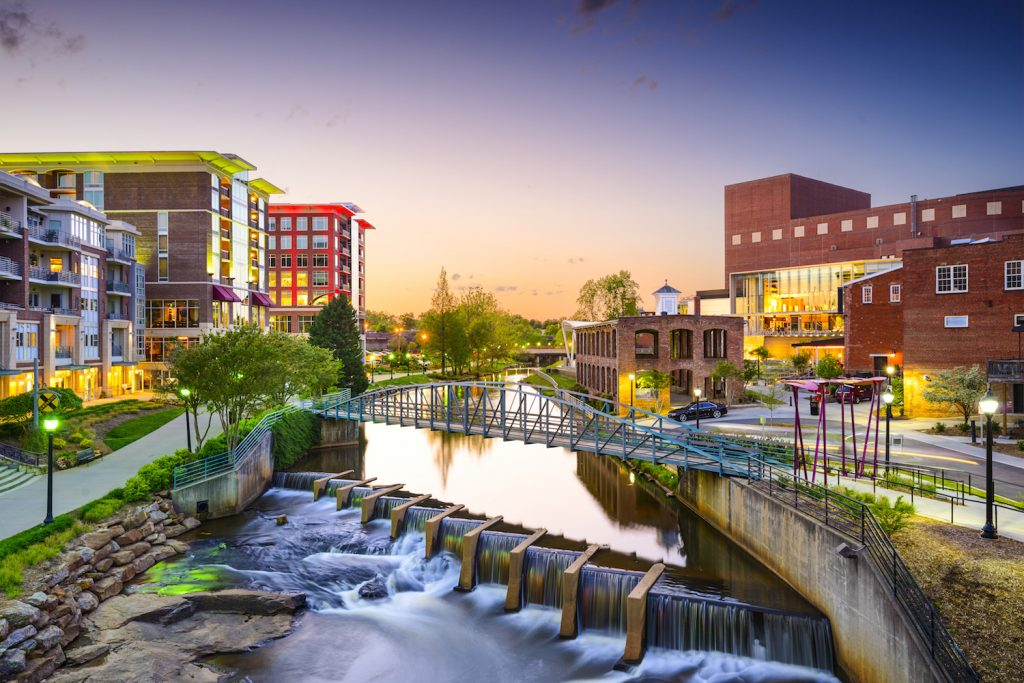 Greenville, South Carolina town cityscape
