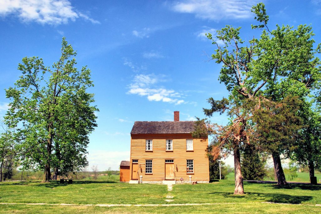 Historic houses at Shaker Village in Kentucky