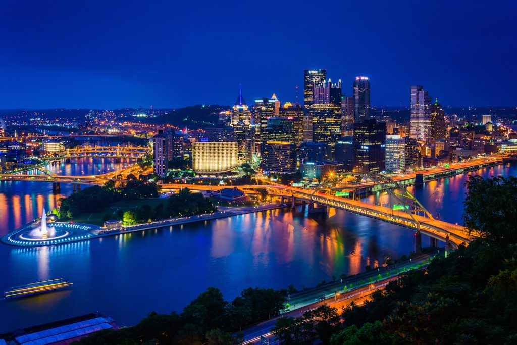 Night view of Pittsburgh from the top of the Duquesne Incline in Mount Washington Pittsburgh Pennsylvania.