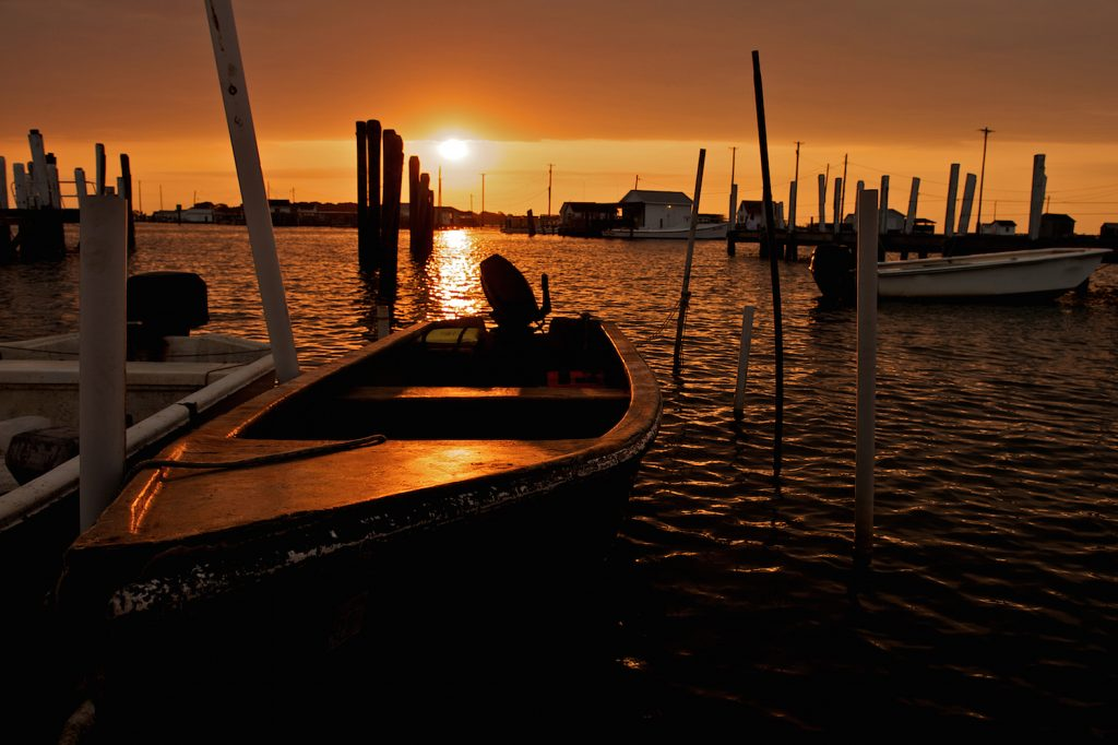Sunrise over the fishing boats of Tangier Island in Virginia.