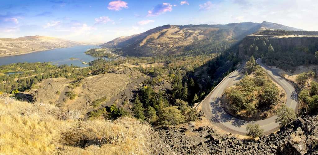 Old Columbia Highway and Columbia River Gorge at Rowena Crest Oregon Panorama