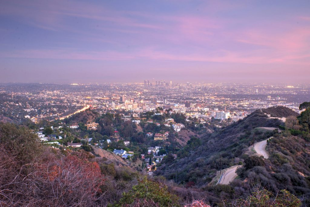 Aerial view of Los angeles city from Runyon Canyon park. concept about traveling nature and backgrounds