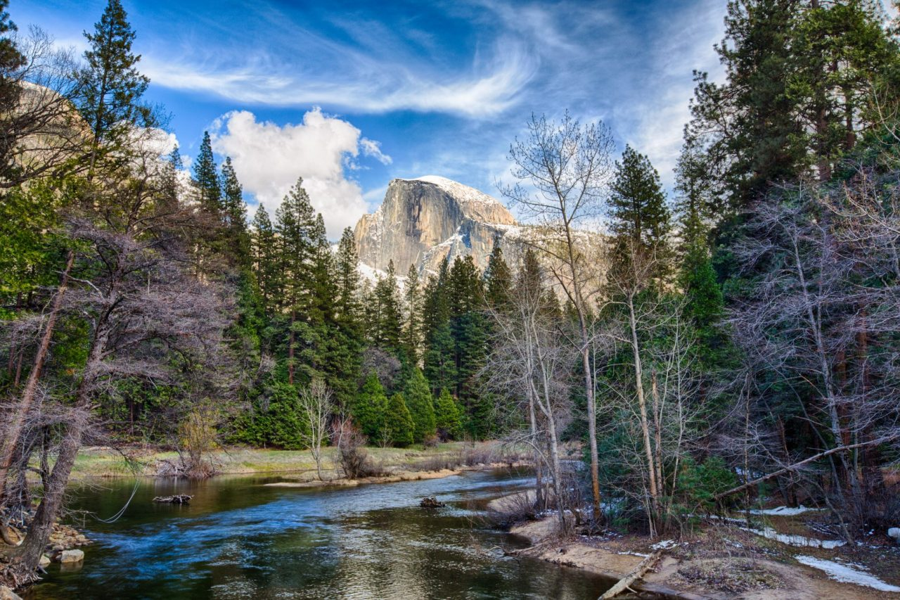 Half Dome towers above the Merced river. Yosemite National Park California