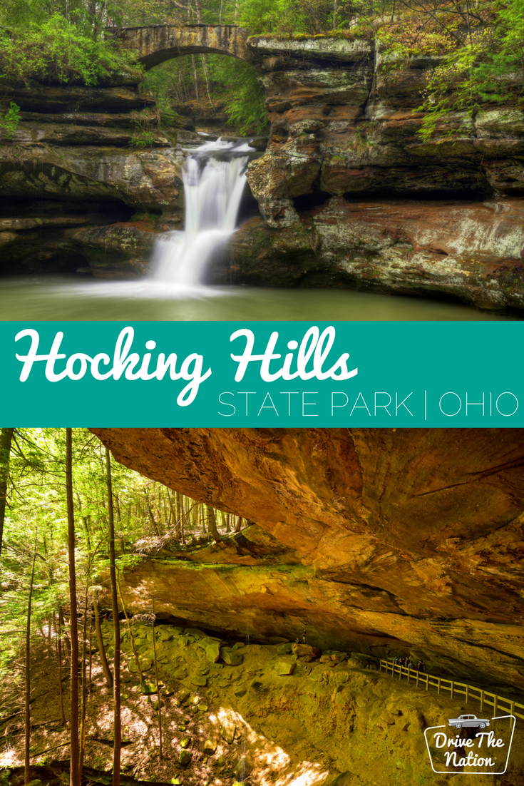 Hocking Hills State Park in Ohio is a dramatic and wild park. It is famous for its rock formations, waterfalls, cliffs, caves, gorges, and streams.