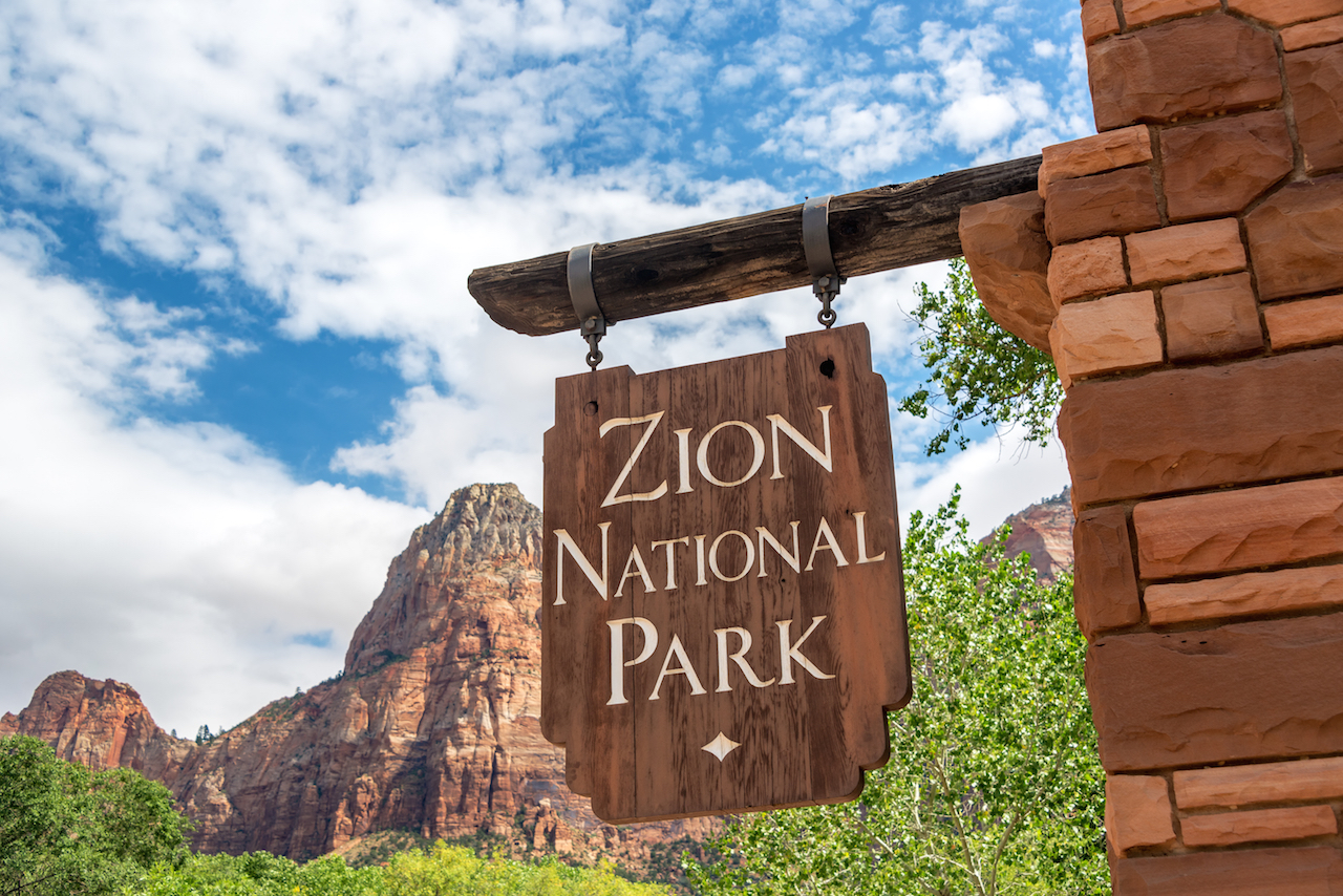 entrance sign at Zion National Park
