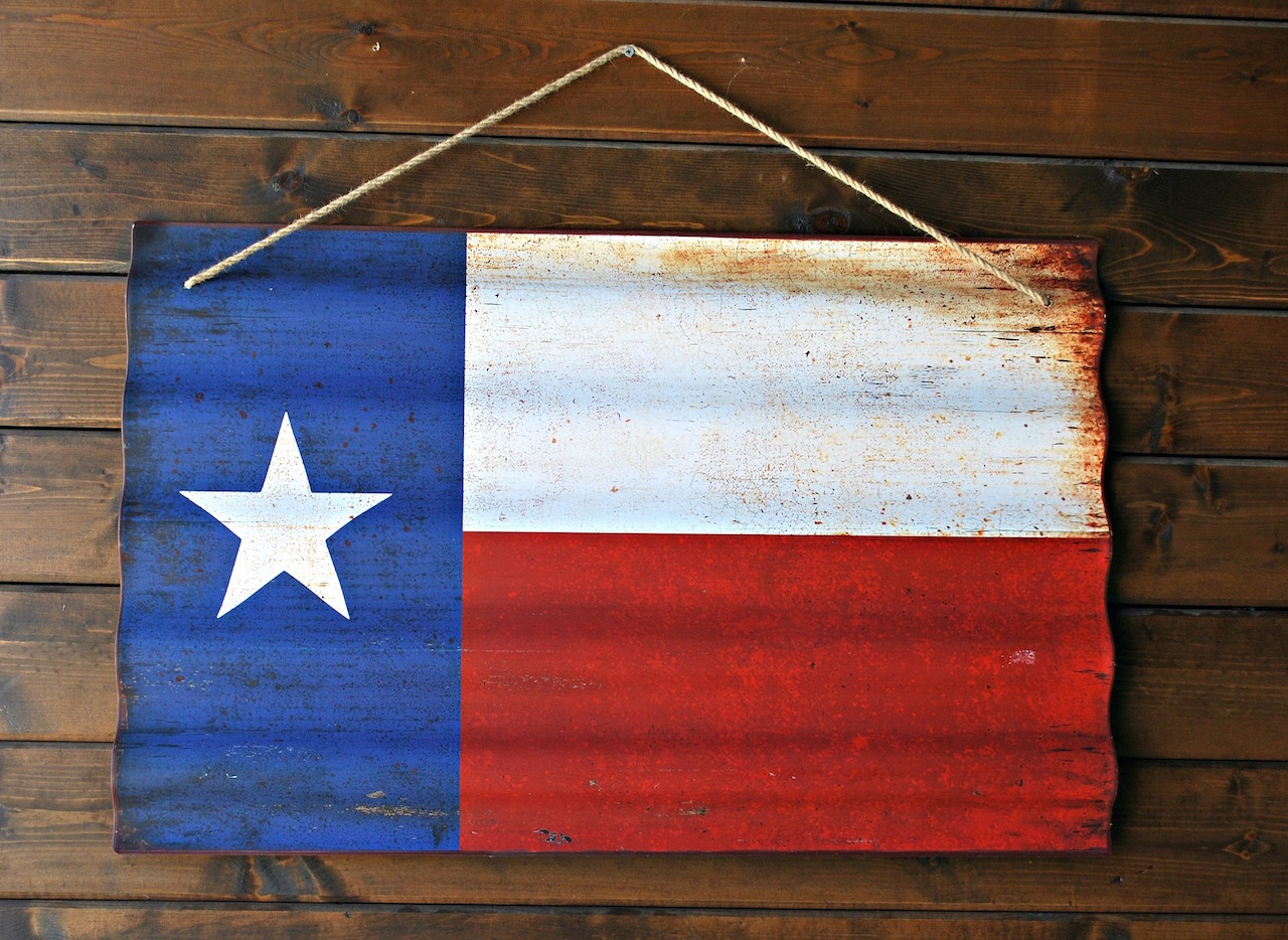 Wooden painted Texas Flag