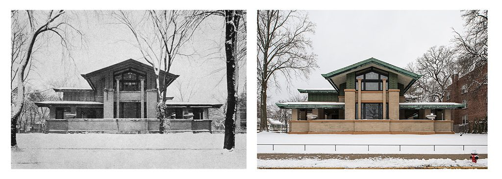 Then and Now comparison photo of the Dana Thomas House