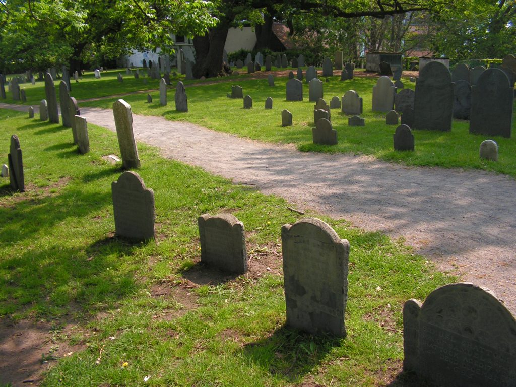 Salem witch graveyard in Massachusetts.