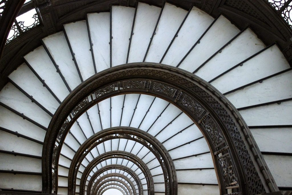 Spiral staircase inside of the Rookery Building in Chicago