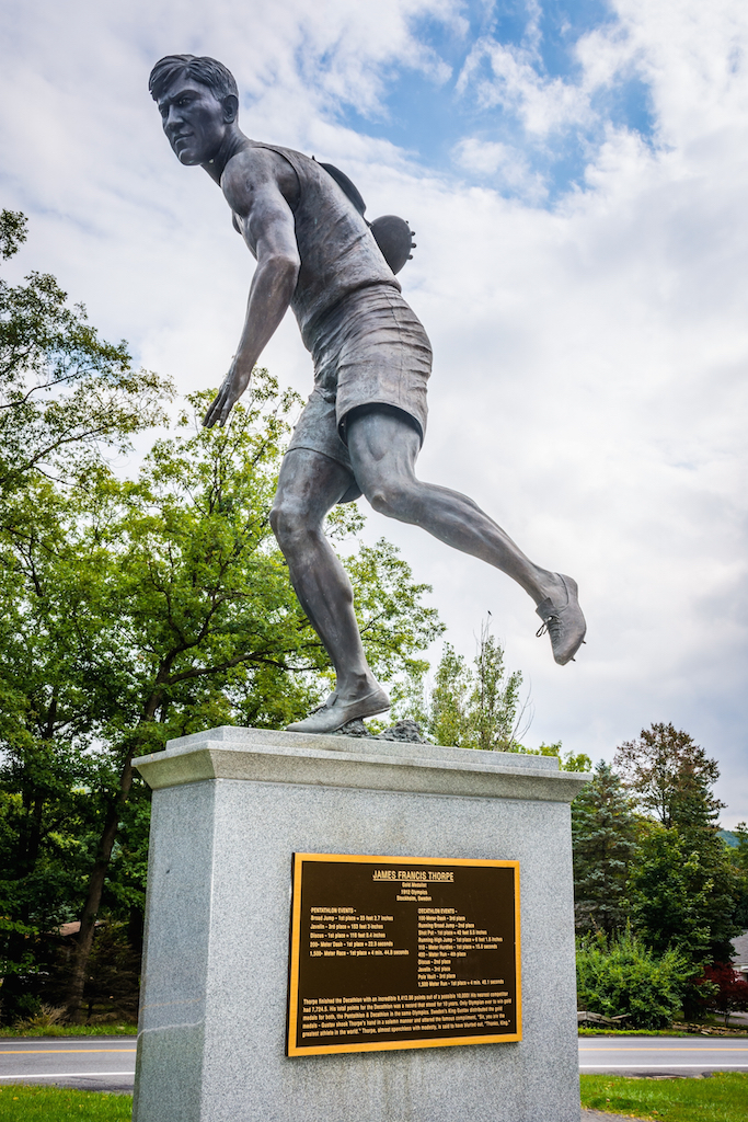 Jim Thorpe memorial statue in the JIM THORPE, PENNSYLVANIA