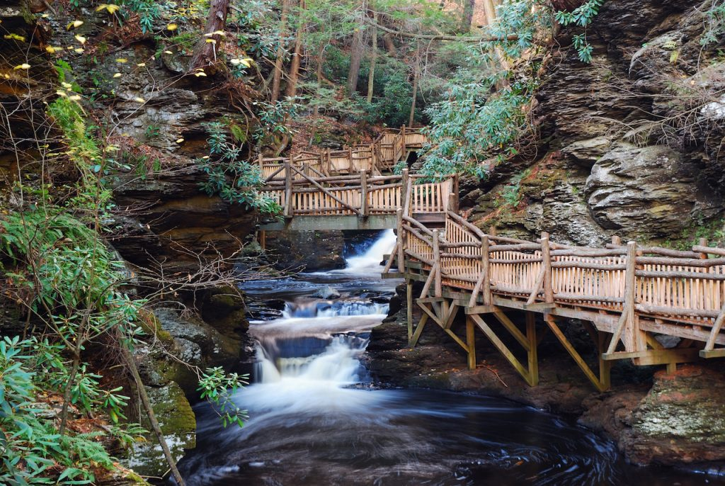 Picture of bridge and waterfall at Bushkill Falls, Pennsylvania.