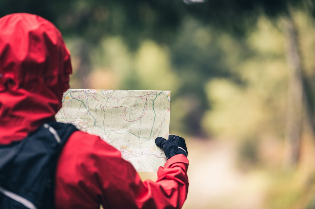 Young female looking at map and planning trip with blurred forest in the background