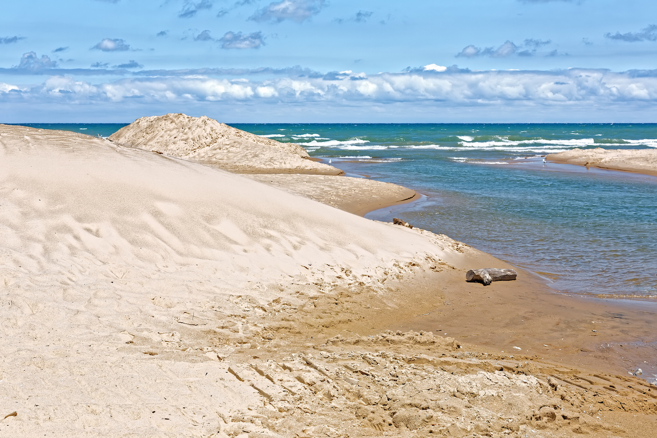 The sand dunes at Indiana Dunes National Lakeshore on a clear blue day