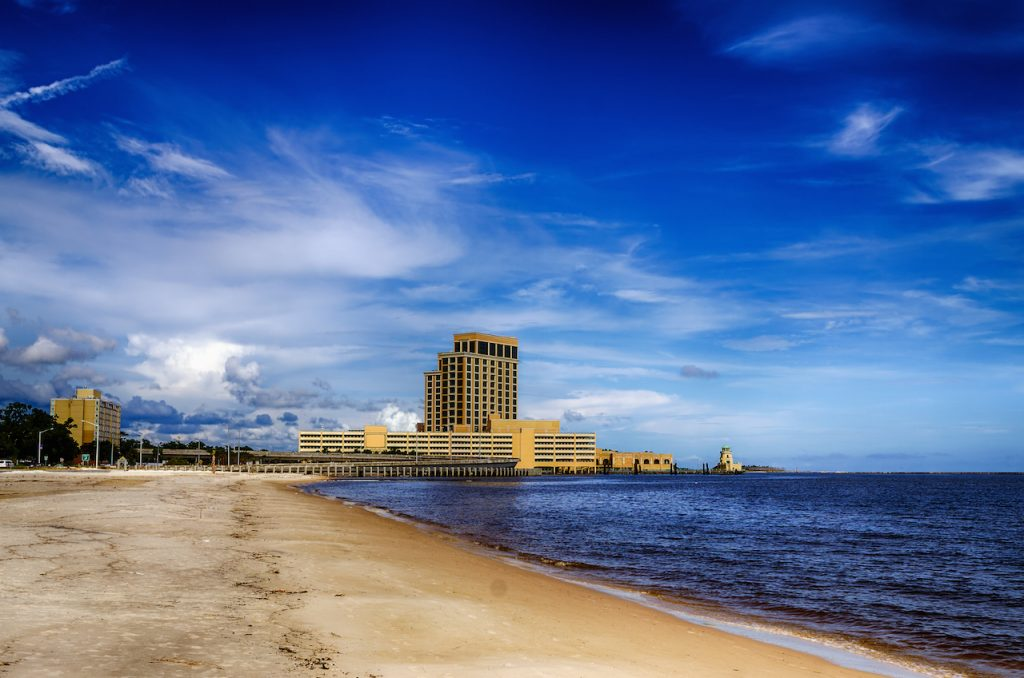casinos and buildings along Gulf Coast shore in Biloxi, Mississippi