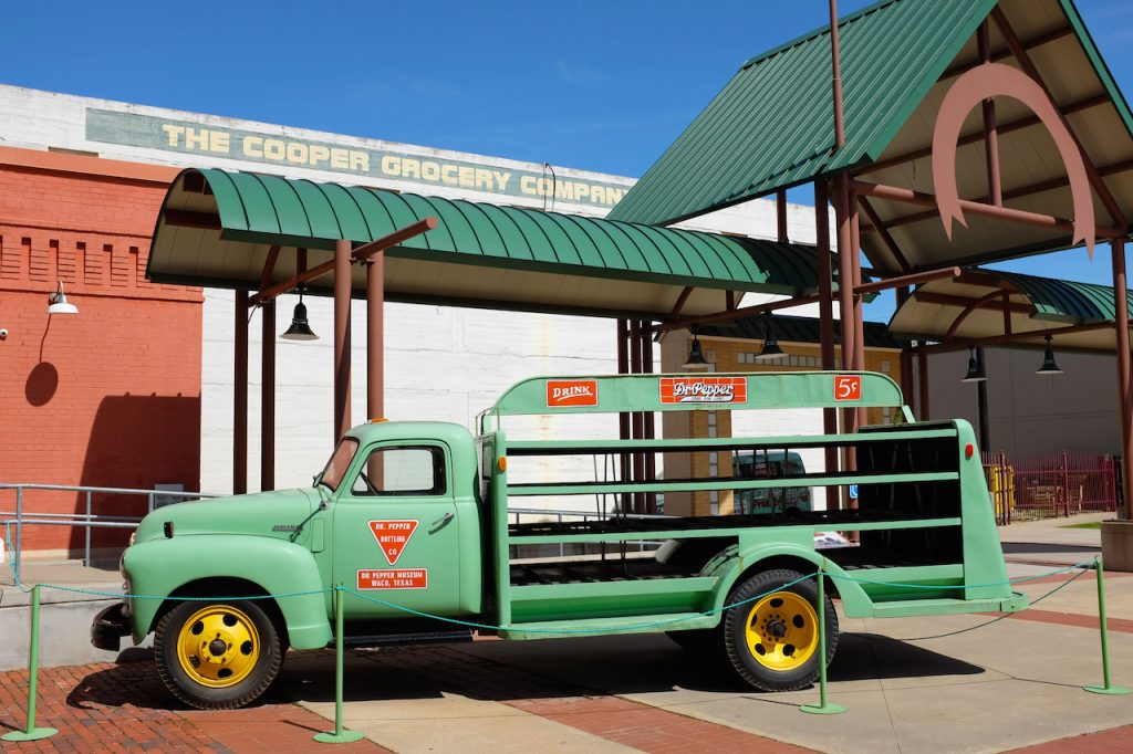 Antique delivery truck at the Dr Pepper Museum and Free Enterprise Institute in Waco, Texas