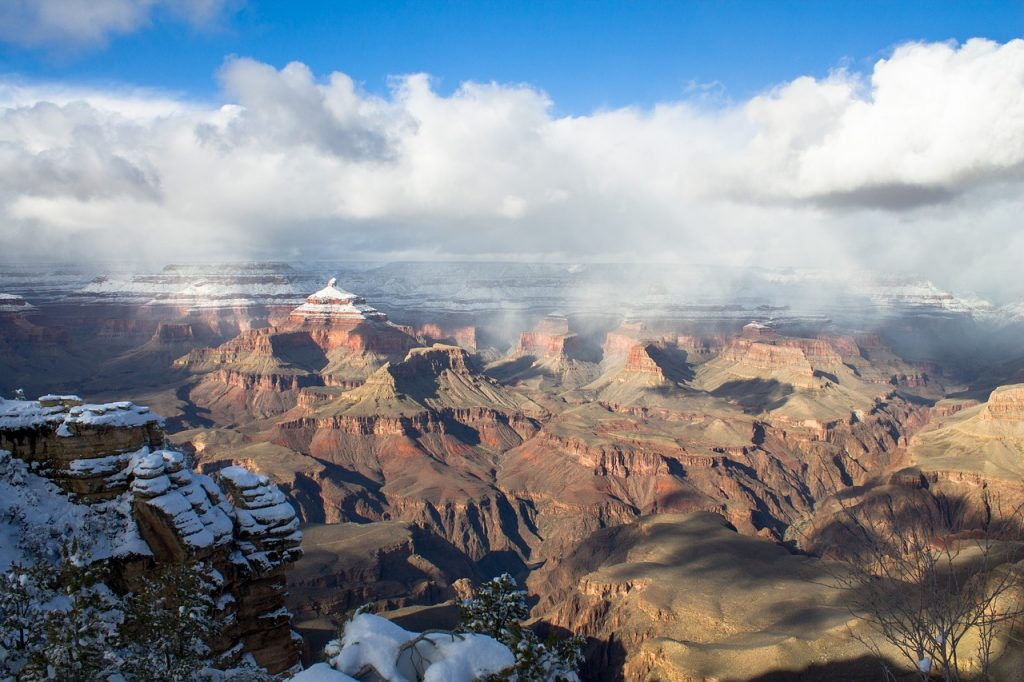 Grand Canyon during winter, with light snow on the mountains