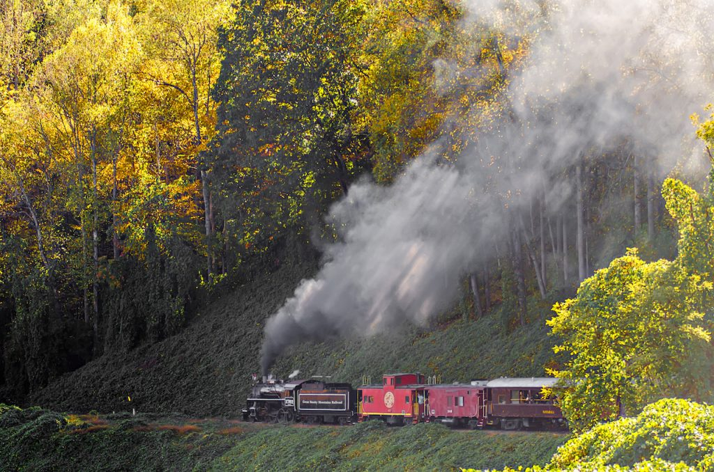 great smoky mountains rail road train ride in Bryson, North Carolina