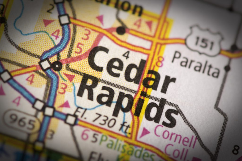 Closeup of Cedar Rapids Iowa on a road map of the United States.