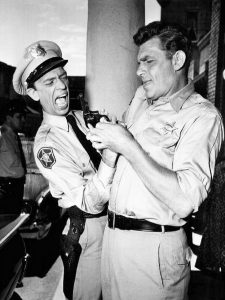 Andy Griffith and Don Knotts on the set of the Andy Griffith Show