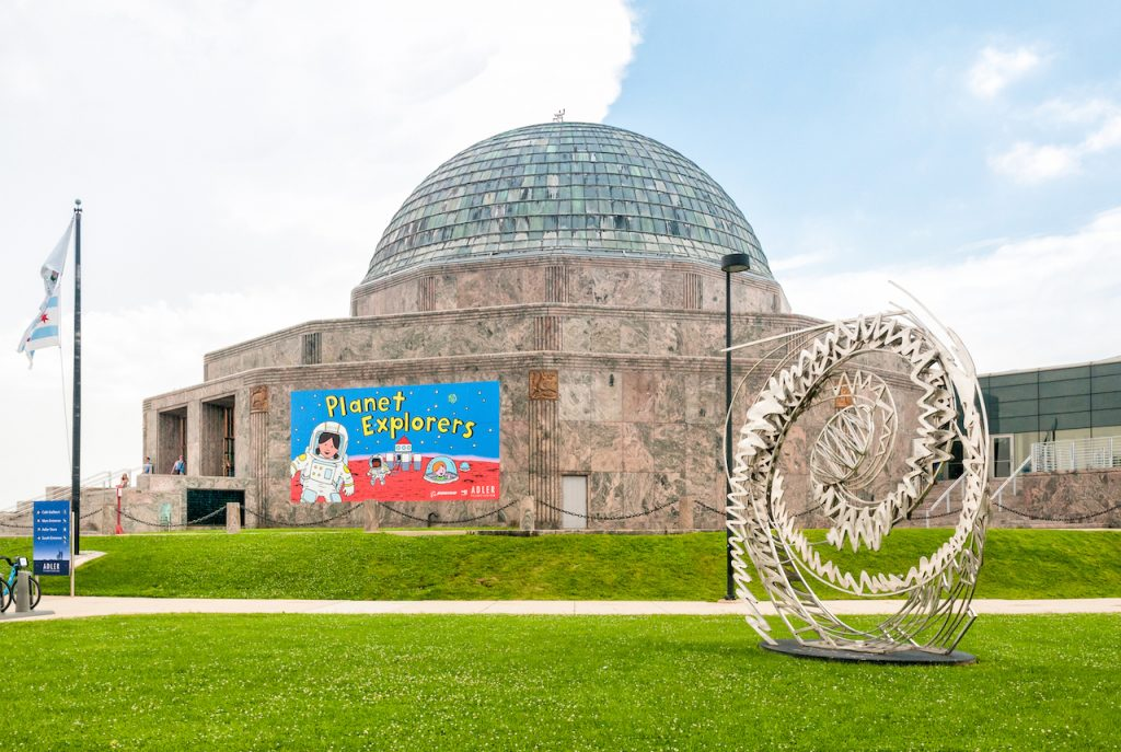 The entrance to the Adler Planetarium in Chicago, Illinois