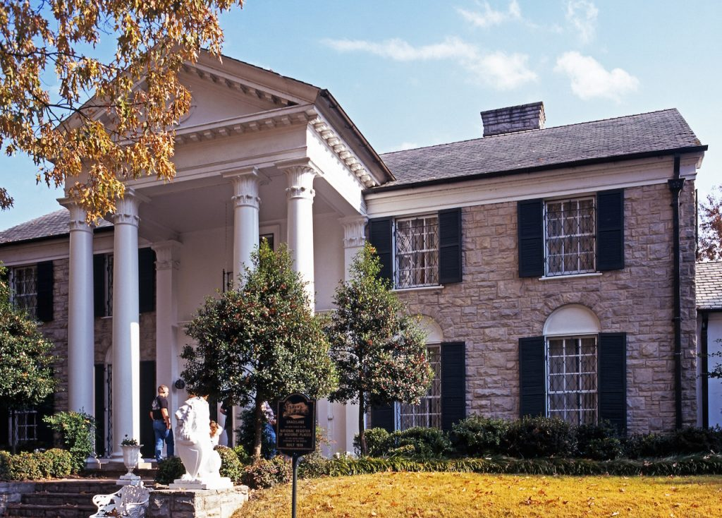 Front view of Graceland the home of Elvis Presley during the Autumn Memphis Tennessee United States of America