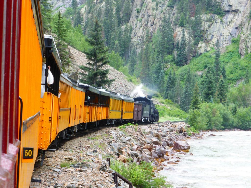 Durango and Silverton Railroad train on the tracks