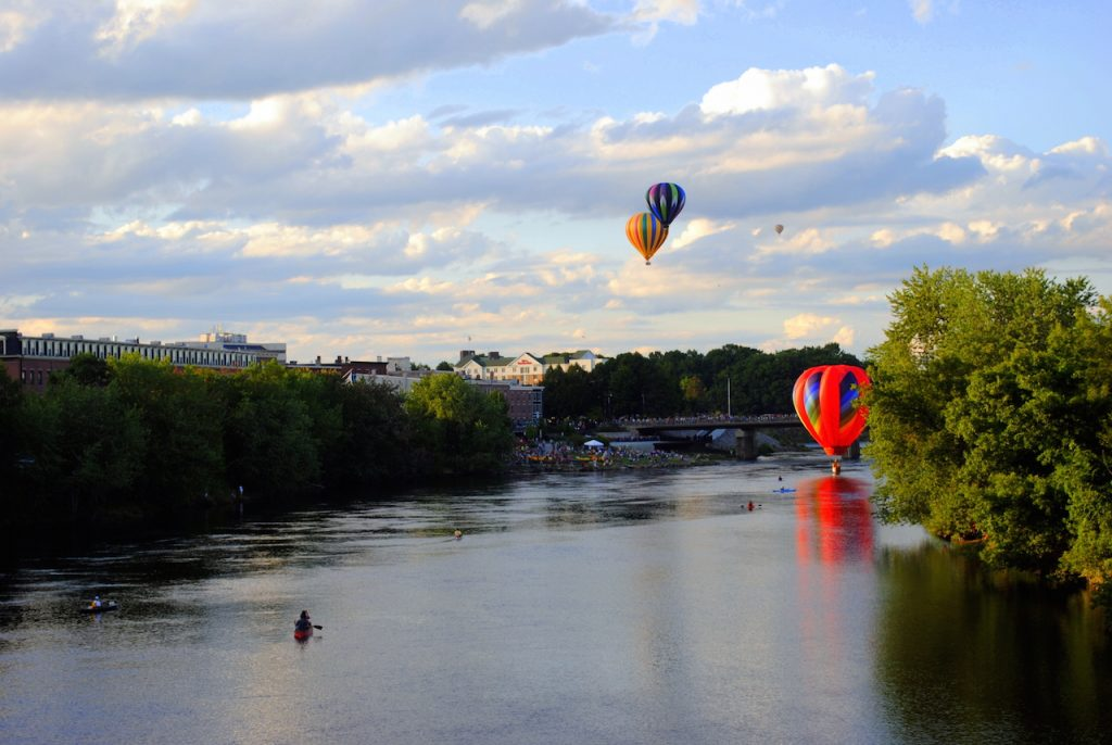Hot Air Balloon Festival over the river at Lewiston, Maine