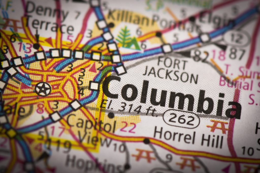 Closeup of Columbia South Carolina on a road map of the United States.