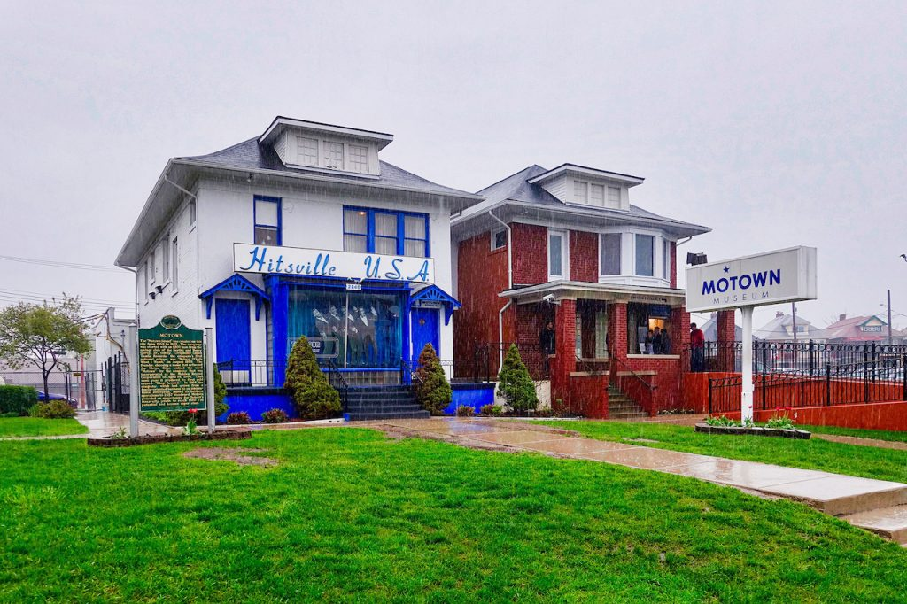 front of Hitsville USA, the Motown Museum in Detroit MI on a rainy, overcast day