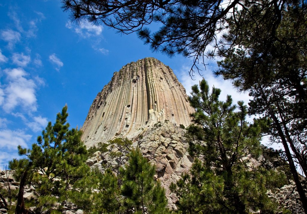 Upward view of Devils Tower Wyoming