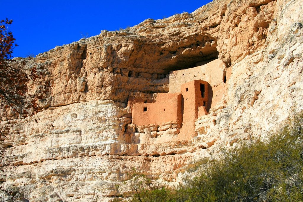 front of Montezuma Castle National Monument on a sunny day
